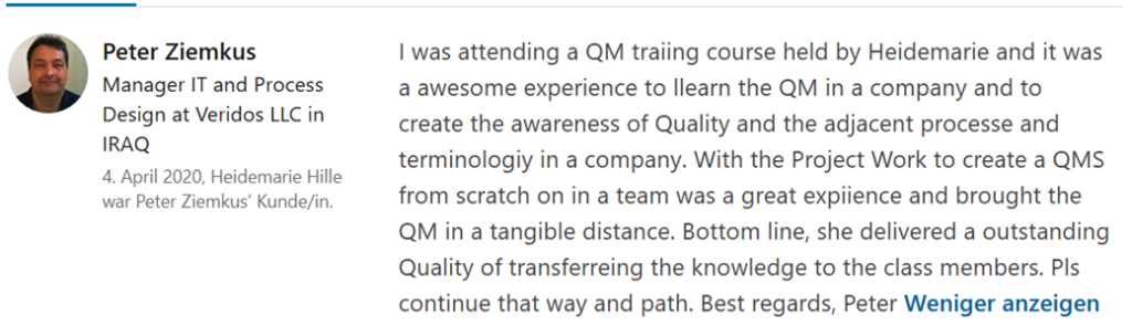 QM Trainings Feedback April 2020